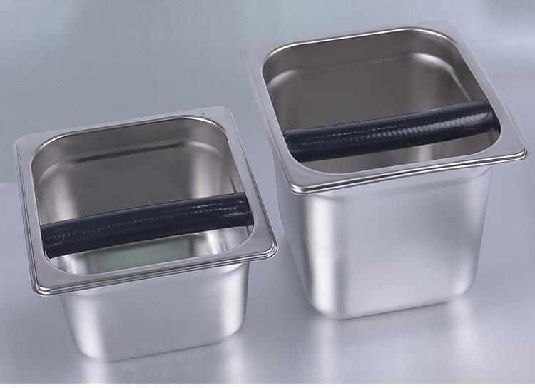 不锈钢咖啡粉渣桶木质敲渣大小号咖啡机用粉渣盒敲渣盒敲废渣槽