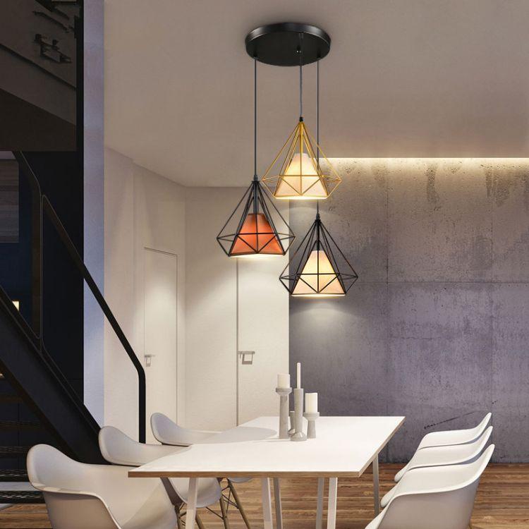 图比乐 北欧餐厅吊灯 创意个性钻石吊灯 单头美式复古吧台灯 loft工业风灯具