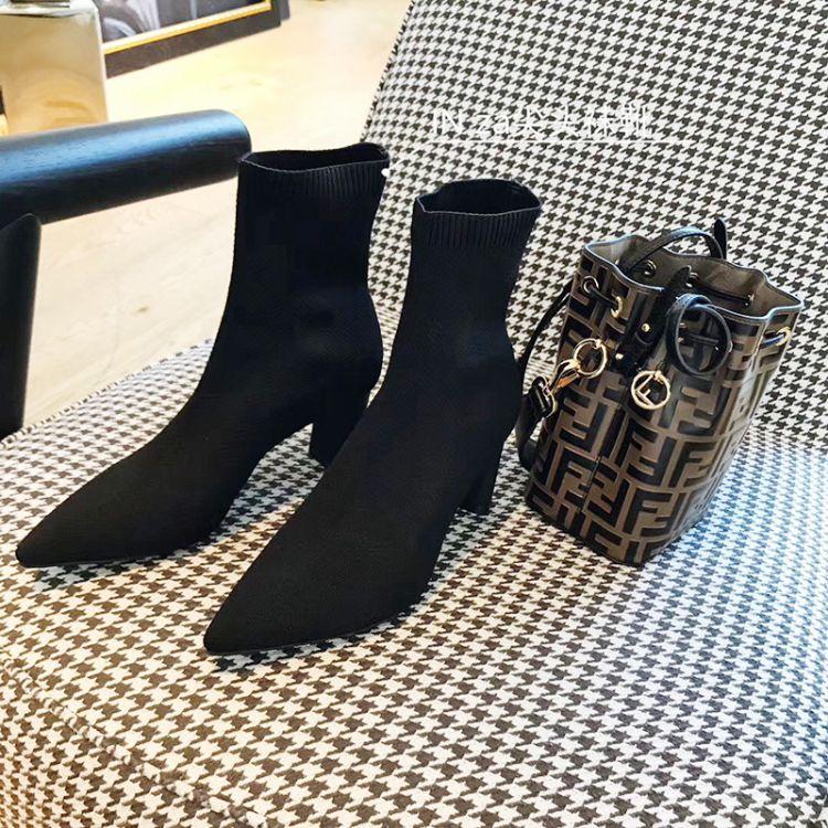 2018in za秋冬新款欧美风短靴纯色尖头高跟防滑女式袜靴粗跟短靴