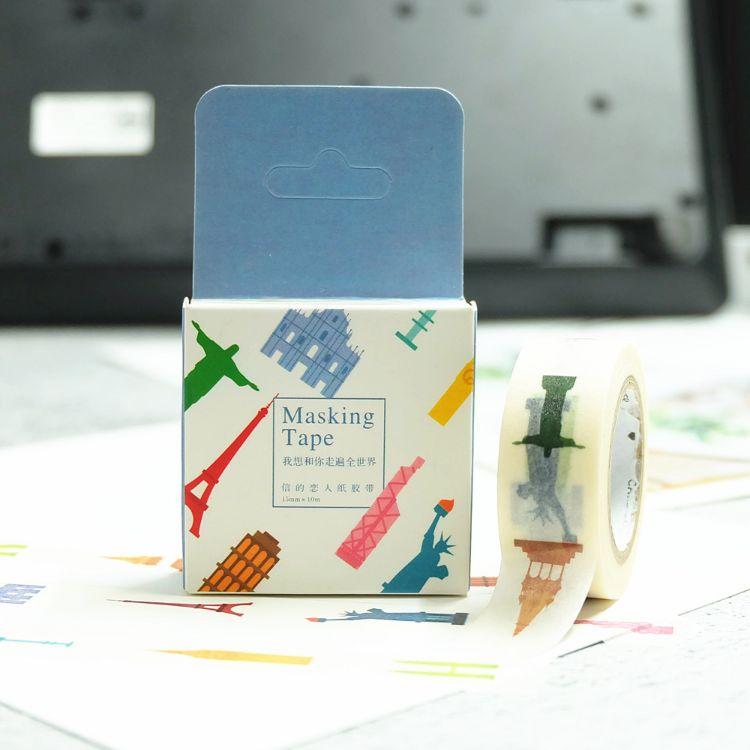 我想和你走遍全世界-手帐和纸胶带 简约欧式风景和纸胶带 长10米