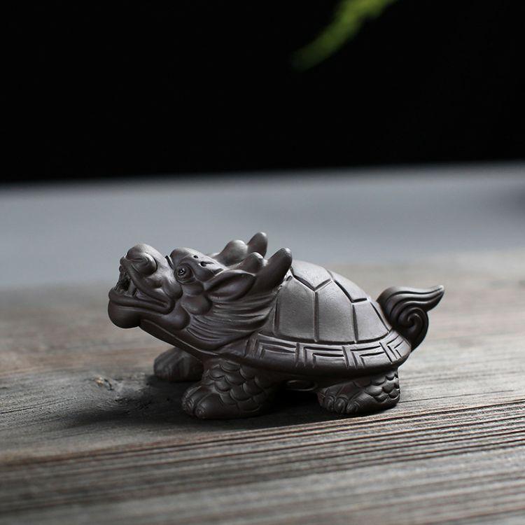 紫泥龙龟茶宠摆件可养茶道零配功夫茶具茶玩禅意小摆件