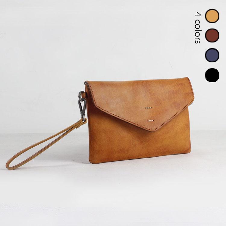 男女款手拿包 日式风格可拆卸 植鞣皮手工缝制信封包 H305