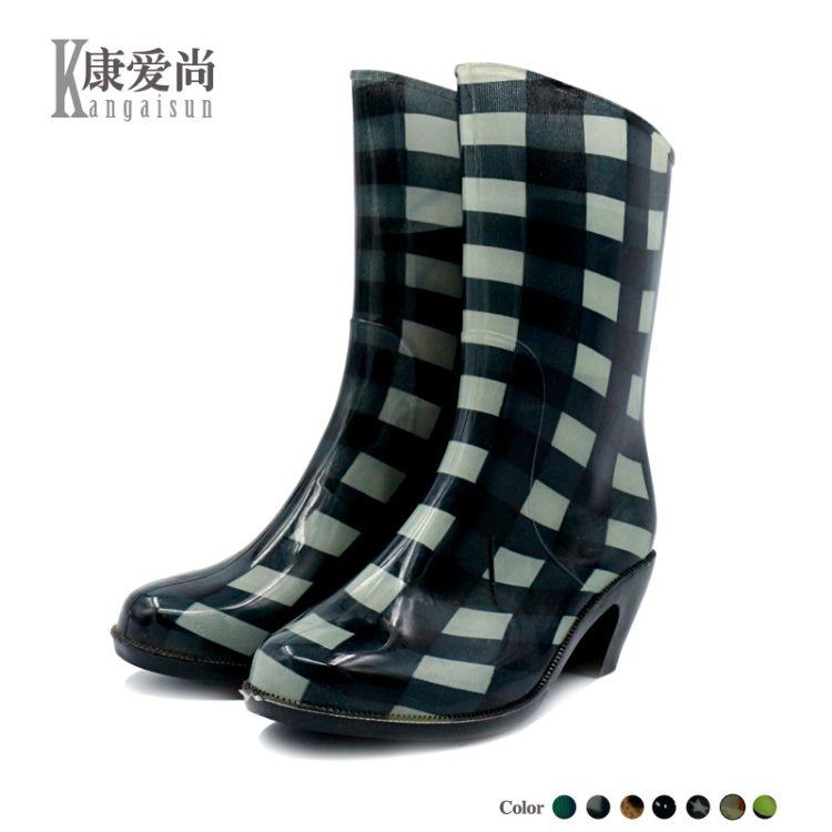 中筒高跟雨鞋套鞋女夏韩国防滑登山鞋耐磨马丁靴时尚水靴尖头雨靴