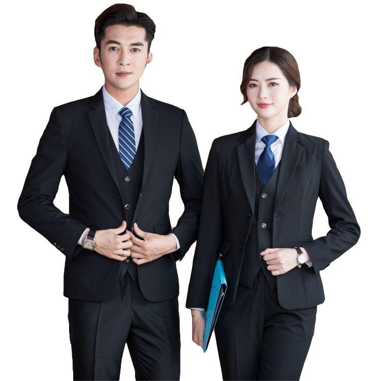许昌男女职业装定制厂家男式商务西服 白领工作服 女士西服套装