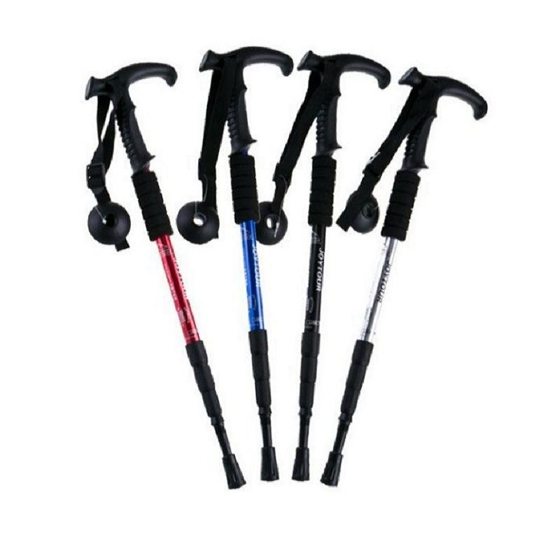 批发供应:铝合金四节登山杖 塑胶柄登山杖拐杖手杖徒步手杖