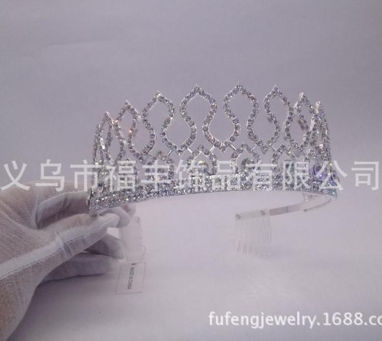厂家直销时尚精美合金材质水钻新娘选美皇冠高5.5cm
