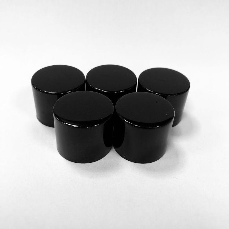 黑色亮瓶光面平顶盖 厂家直销 18牙电解 化妆品包装盖 现货批发