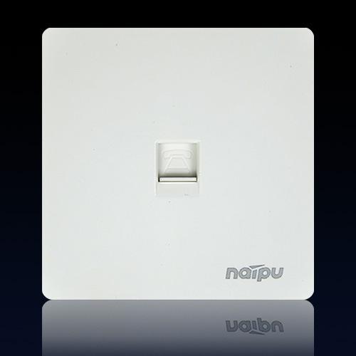 上海耐普无边框墙壁开关插座N78系列电话插座 语音插座