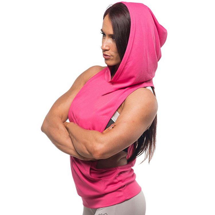 欧美外贸新款运动马甲罩衫女百搭运动时尚健身无袖连帽背心女