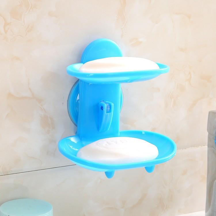 浴室免钉吸盘香皂盒创意免打孔吸壁式双层吸盘肥皂盒洗手间肥皂架