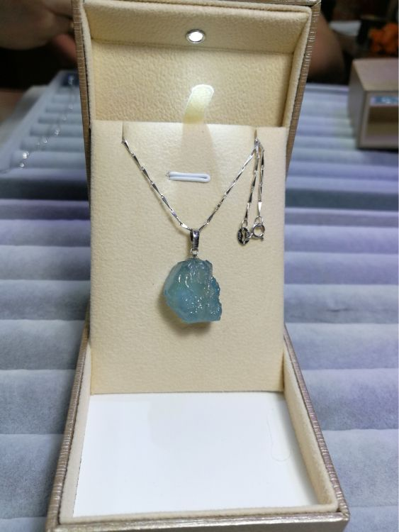 天然水晶随型原石吊坠冰种不规则形状好海蓝宝吊坠925银水晶项链