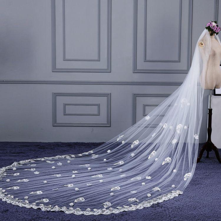 新款新娘头纱4米花朵蕾丝韩式结婚纱配件花边超长拖尾乳白色简约