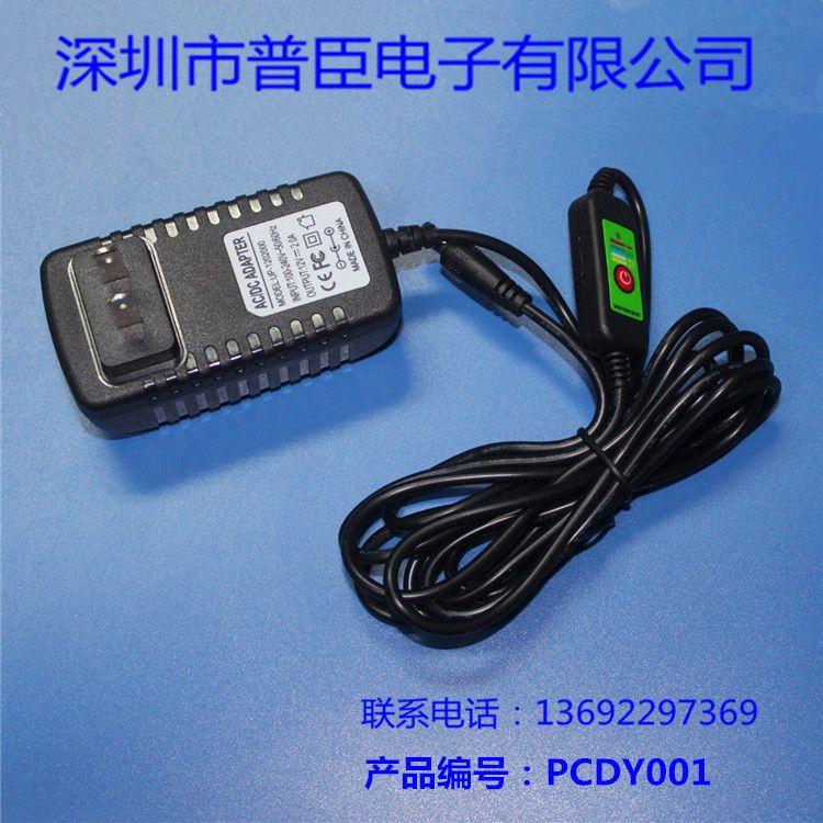厂家供应DC12V2A电源适配器温控电源线 可调温度 五档调温适配器