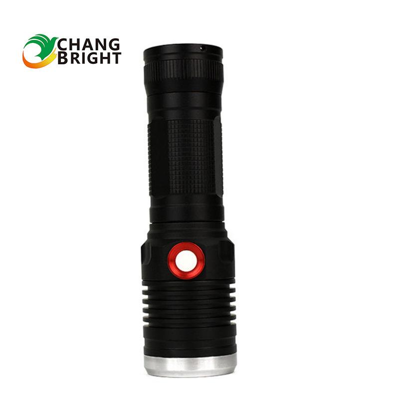 新款户外骑行大功率USB充电强光手电筒可充电远射变焦强光手电