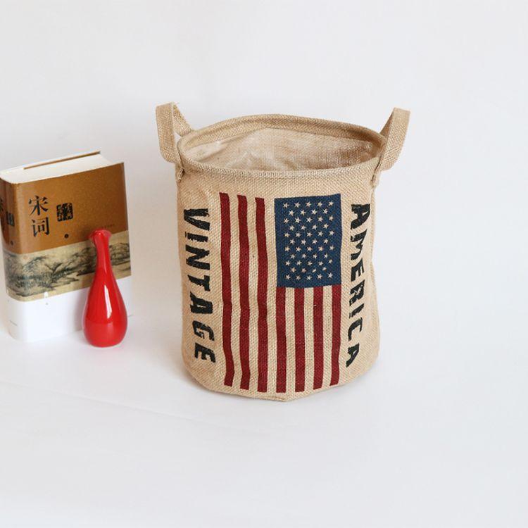 2018新款黄麻收纳厂家专业生产批发黄麻国旗收纳圆桶儿童玩具收纳