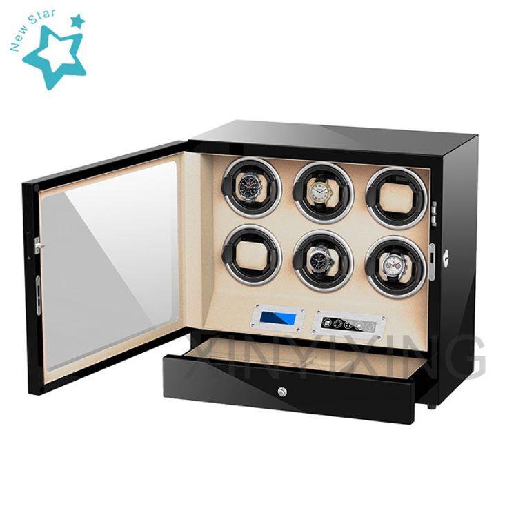 现货批发高端手表上链盒可调速LED灯旋转盒摇控器触屏操控摇表器