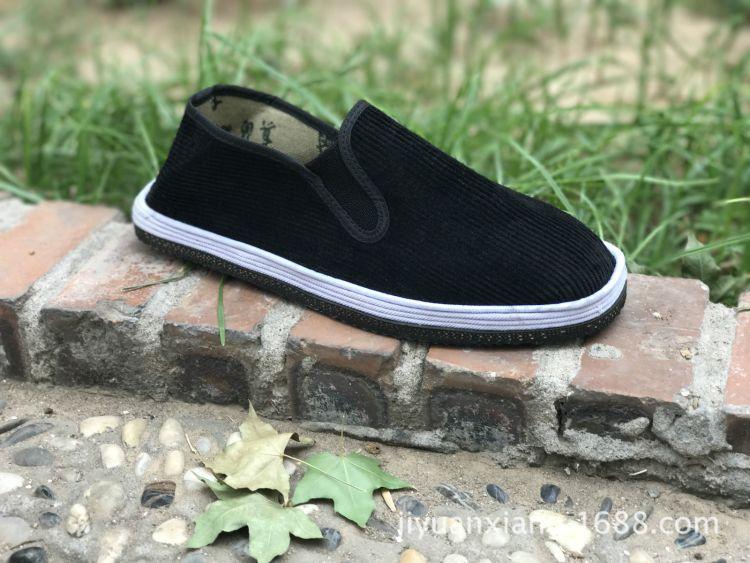 老北京黑布鞋批发圆头简约条纹平跟黑条绒轮胎底布鞋厂家批发直销