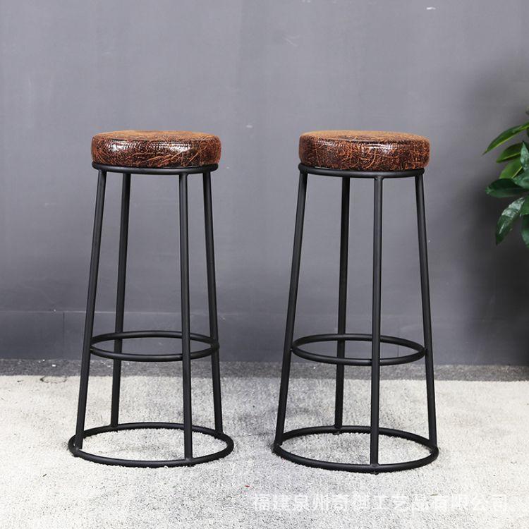 供应 铁艺实木奶茶店咖啡厅高脚凳  美式复古做旧创意酒吧吧台椅