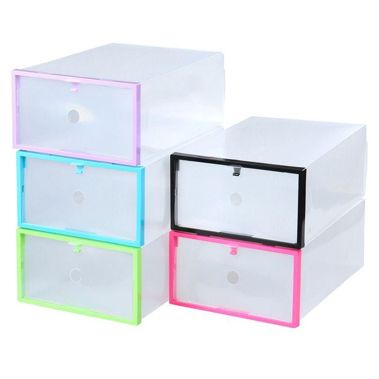 PP塑料鞋盒 彩色塑料包边 翻盖式男士鞋盒 创意家居收纳用品