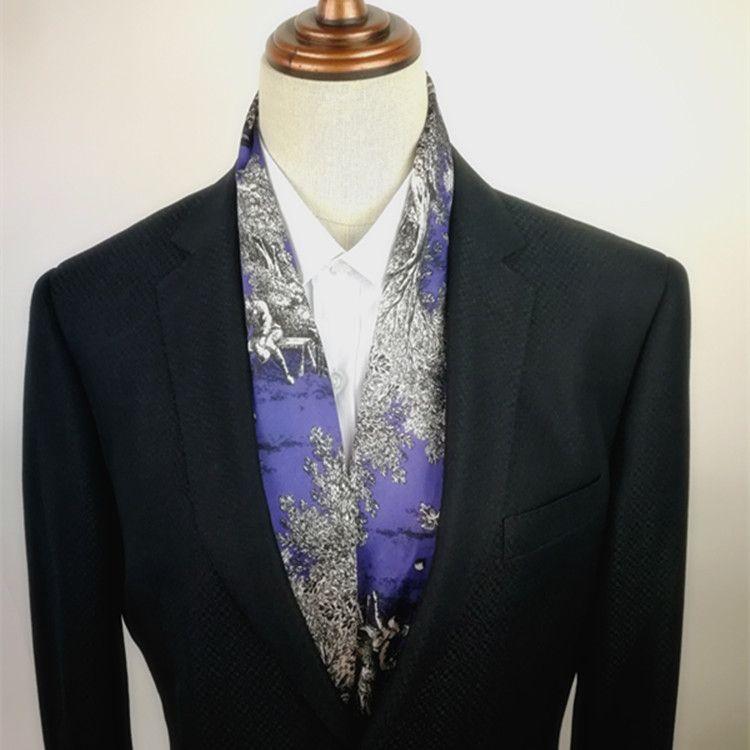 英倫領巾男韓版領口巾春秋薄小款圍巾潮時尚男士長絲巾包郵