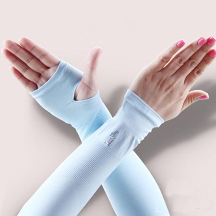 冰感丝袖套批发 夏季新款冰凉袖防紫外线臂套露指袖套厂家直销