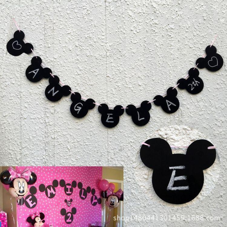 速卖通米奇拉旗拉花DIY横幅标志生日聚会婴儿淋浴摄影派对装饰