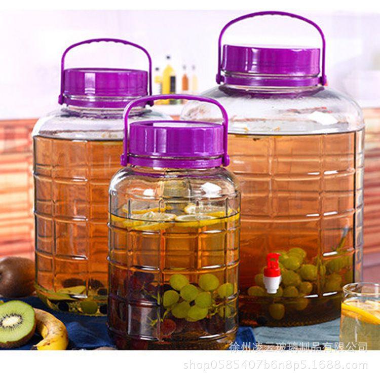 厂家包邮玻璃酒瓶泡菜坛子徐州泡酒瓶带龙头玻璃方格梅酒瓶玻璃罐