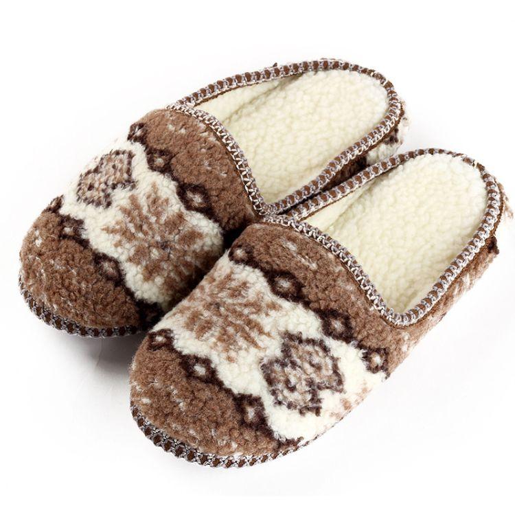 随易居 秋冬季保暖棉拖鞋 万花筒款 舒适拖鞋 羊羔绒女鞋厂家直销
