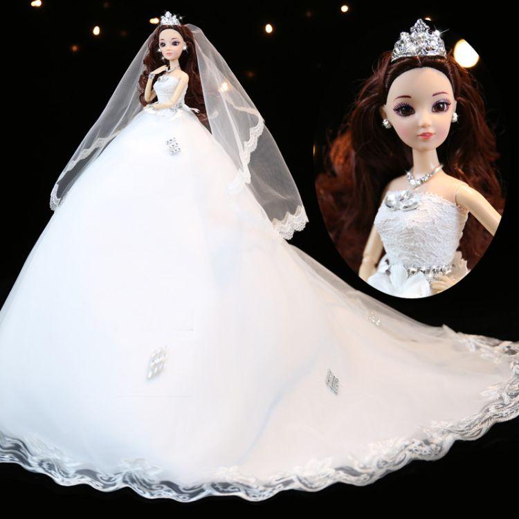 巴比娃娃套装超大号45厘米婚纱大裙摆儿童女孩公主新娘玩具礼物