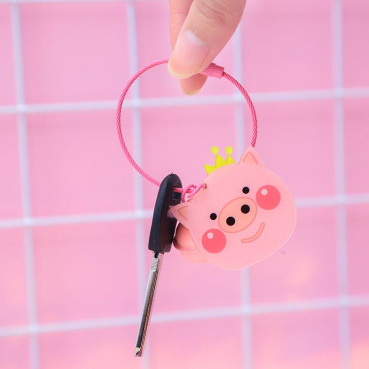 韩版卡通钥匙扣女 可爱汽车钥匙链 创意个性小猪猪包包挂件批发