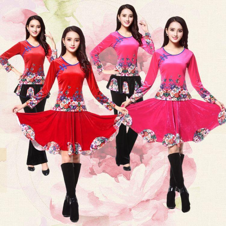 秋冬新款广场舞服装金丝绒套装女长袖上衣加绒加厚舞蹈服跳舞衣服