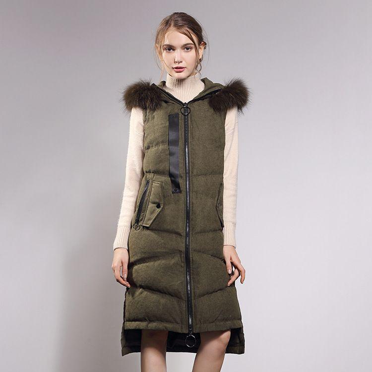 秋冬新款羽绒保暖马甲女士背心 加长款前短后长连帽鸭绒外套代发
