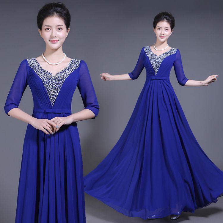 合唱服长裙大摆裙成人新款晚礼服长款中老年大合唱演出服装中袖女