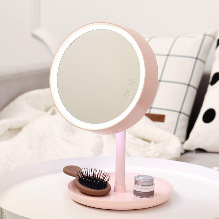 LED化妆镜台式带灯智能补光梳妆镜公主镜送女友闺蜜情人节礼物
