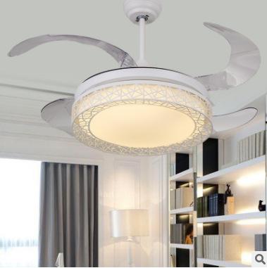 现代简约风格餐厅卧室PVC扇叶鸟巢隐形风扇灯led灯具静音吊扇灯