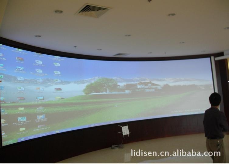 投影幕工厂批发 金属正投幕 金属硬幕 3D立体弧形幕 大型工程幕