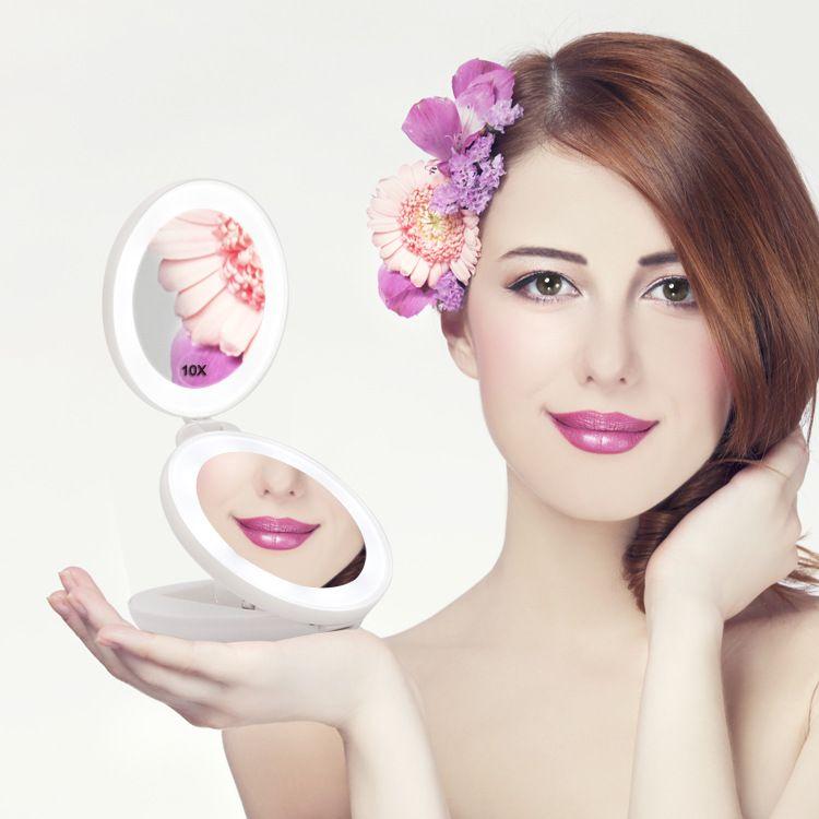 LED便携折叠化妆镜 双面带灯圆形三折台灯双面镜子  厂家OEM定制