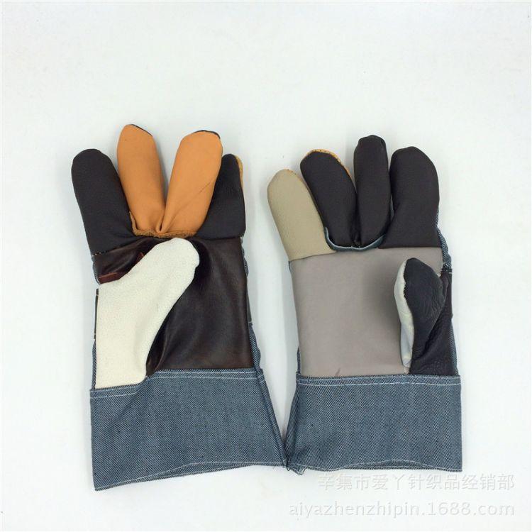短电焊手套 头层牛皮 焊工劳保手套 劳保花皮手套 高性价比
