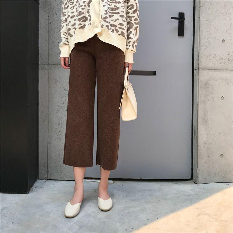 2018新款明星同款加厚毛呢呢子9分高腰显瘦阔腿裤杏色灰色