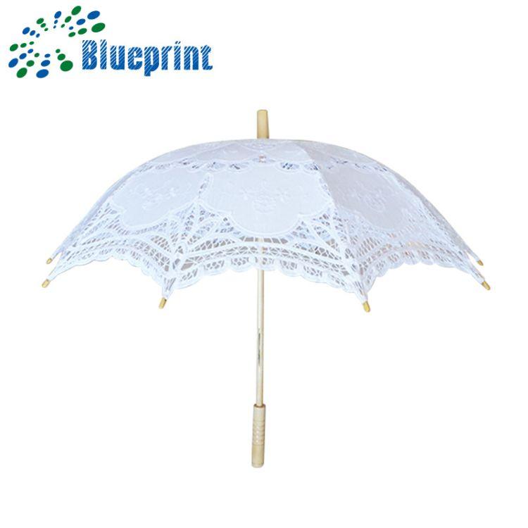 2018新款蕾丝雨伞 白色木柄伞定制 创意可爱民族风雨伞定做logo
