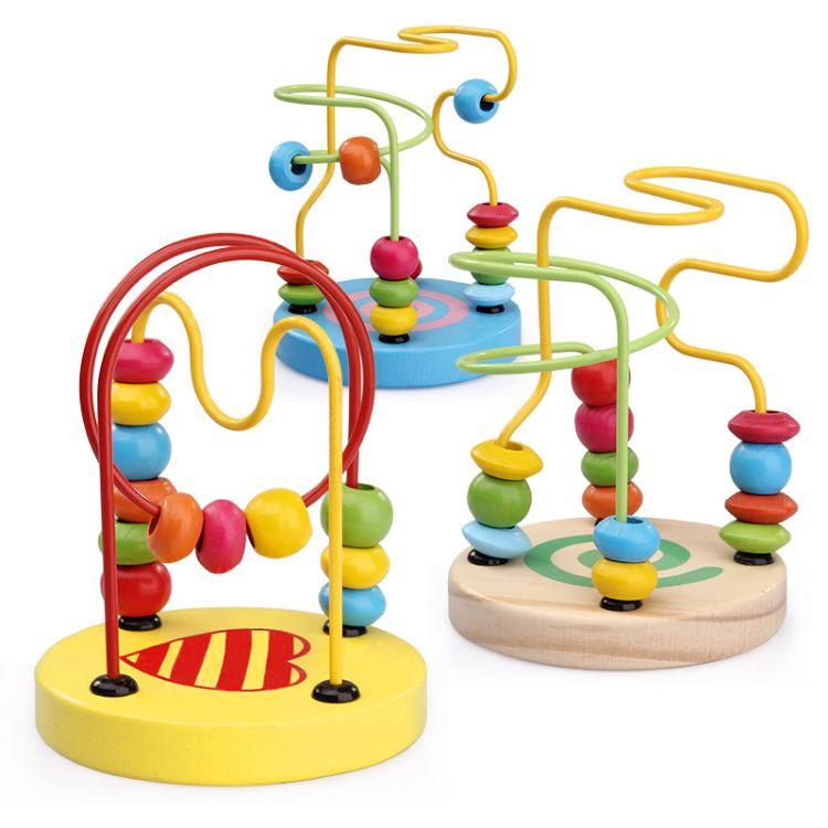 婴幼儿园早教益智力木质 儿童迷你小绕珠串珠积木木制玩具1-2-3岁