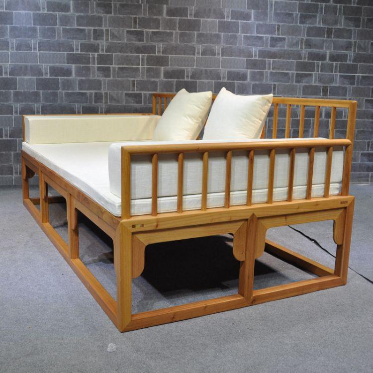 老榆木罗汉床一套实木沙发书房客厅罗汉床梳子栅栏靠背床工厂定制