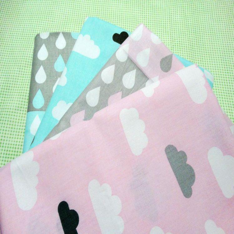 云朵雨滴全棉斜纹儿童卡通床品面料宝宝服装布手工布料批发