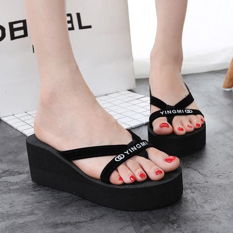 女式拖鞋夏季人字拖女厚底防滑高跟松糕跟 韩版 沙滩鞋女凉拖鞋女