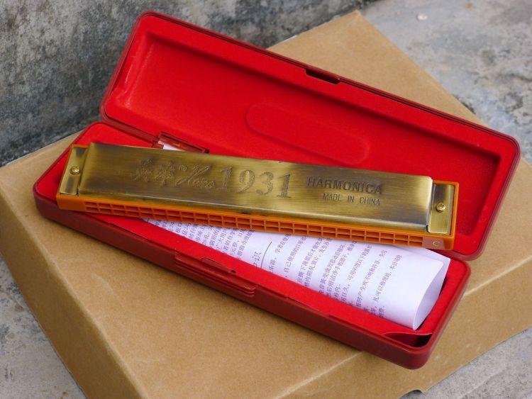 英雄牌24孔塑格古铜式口琴 演奏C调学生口琴