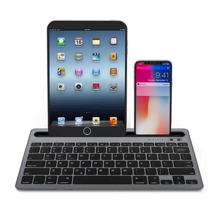 数码无线蓝牙键盘平板电脑手机通用双通道三系统配对键盘深空灰
