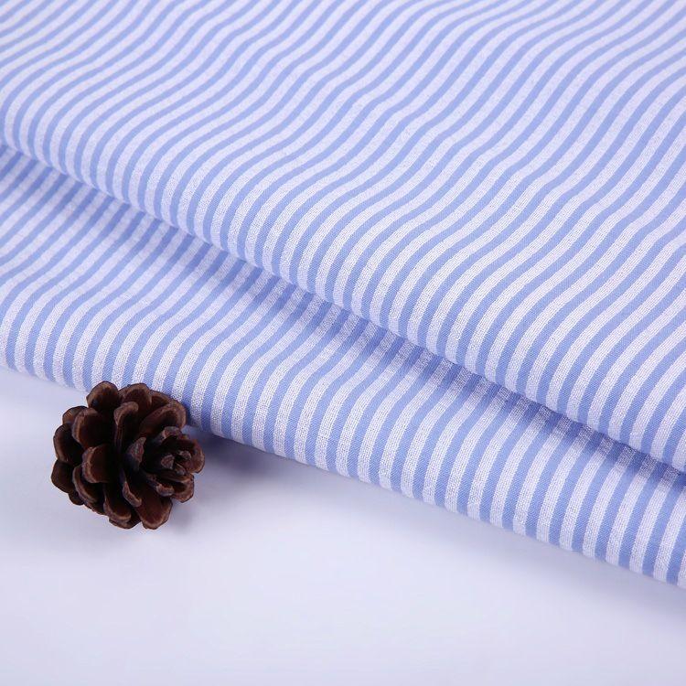 现货供应衬衫面料条纹条子色织涤棉100*40s 衬衣涤棉交织