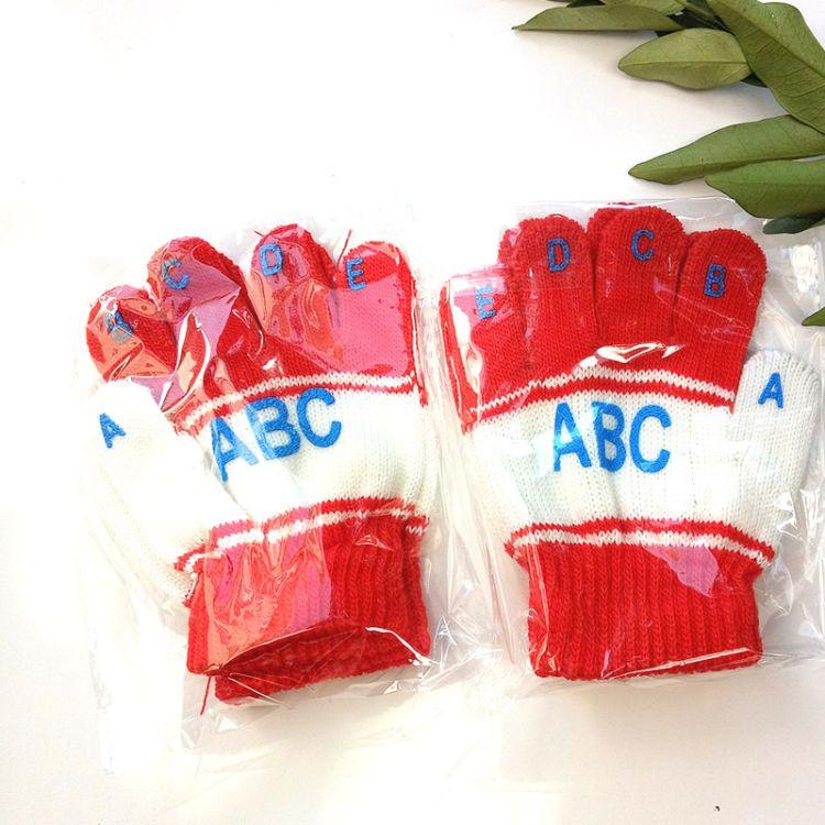 L批发儿童针织手套儿童ABC字母五指手套保暖手套 手套批发