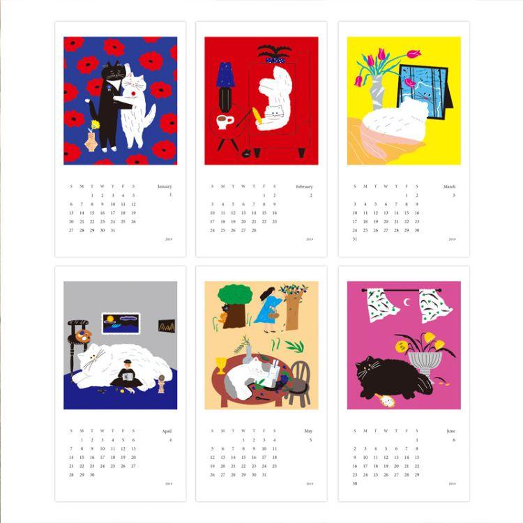 2019 calendar 新年日历贺卡ins设计师插画系列套卡拍照道具卡片