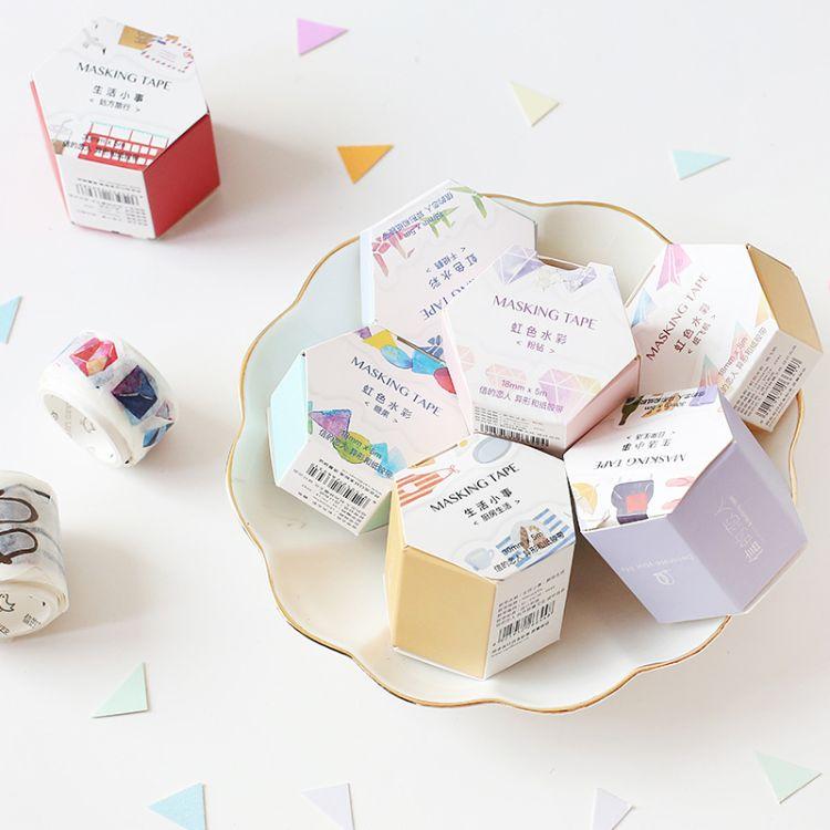 信的恋人文具批发 异形和纸胶带 彩虹色/文艺生活家居纸胶带 手帐